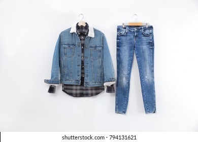 Men's sleeved plaid cotton with jeans jacket on hanger