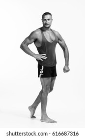 men's sport athletic portrait with beautiful suntan body bnw