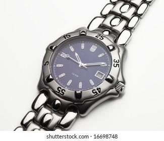Men's stainless steel and cobalt blue dress wristwatch