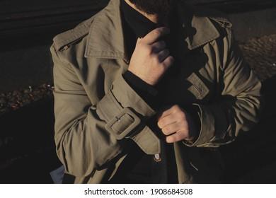 men's style, hands and tie