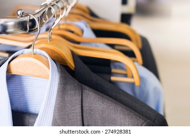 Mens suits on hangers