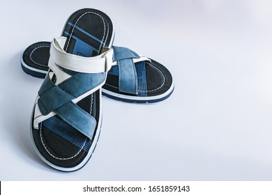 Men's summer shoes isolated on white background. Sandals for men and boys. Comfortable men's shoes. Side view. Space for text.