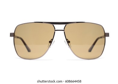 Men's sunglasses with brown glasses in metal frame isolated on white