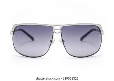 Men's sunglasses in metal frame isolated on white