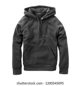 Men's Sweat Black Pullover Hoodie Isolated on White. Men Fleece Garment. Hooded Sweatshirt. Zipless Jumper Adjustable Drawstring Hood. Top Warm Kangaroo Pouch Pocket Hoody Sweater. Long Sleeve Apparel