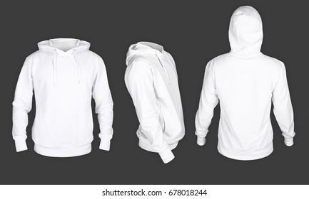 Men's sweatshirt white color on the dark background
