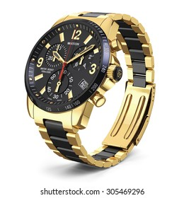 Mens swiss mechanical golden wrist watch with stainless steel wristband and black dial, tachymeter, chronograph. Isolated on white background 3d