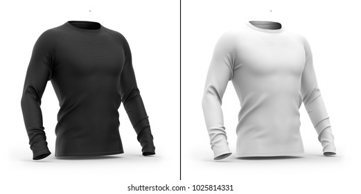 Men's t shirt with long raglan sleeves. 3d rendering. Clipping paths included: whole object, collar, sleeves. Isolated on white background. Shadows and highlights mock-up templates.