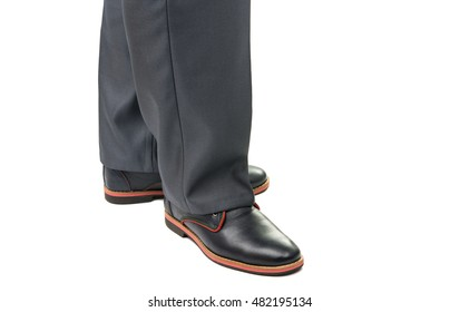 men's trousers with shoes isolated on white background