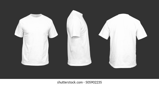 Men's t-shirt of white color against a dark background