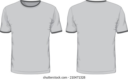 Men's t-shirts template. Front and back views.