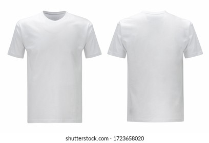 Men's and unisex white blank T shirt template, two sides, regular fit, natural shape on invisible mannequin, for your design mockup for print, isolated on white background.