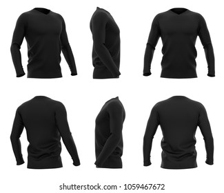 Men's v-neck t shirt with long sleeves. Six views. 3d rendering. Isolated on white background.