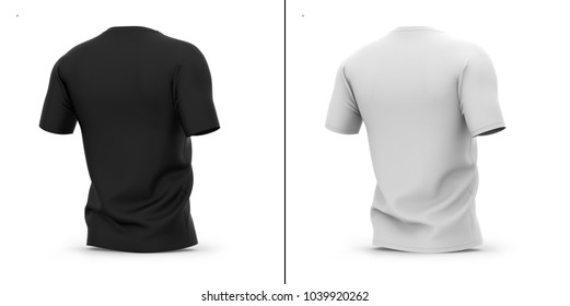 Men's v-neck t shirt with short sleeves. 3d rendering. Half-back view. Clipping paths included: whole object, collar, sleeve. Shadows and highlights mock-up template.