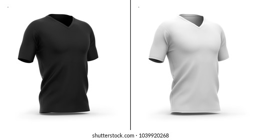 Men's v-neck t shirt with short sleeves. Half-front view. 3d rendering. Clipping paths included: whole object, collar, sleeve. Shadows and highlights mock-up template.