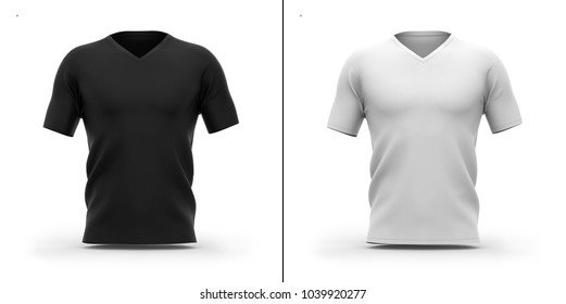 Men's v-neck t shirt with short sleeves. Front view. 3d rendering. Clipping paths included: whole object, collar, sleeve. Shadows and highlights mock-up template.