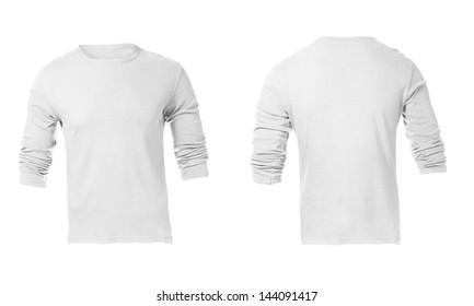 Men's white long sleeve t-shirt template