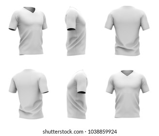 Men's white v-neck t-shirt with short sleeves. Six views. 3d rendering.