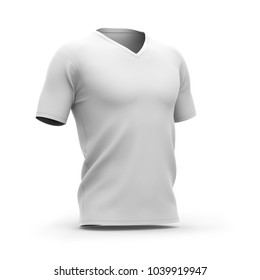 Men's white v-neck t-shirt with short sleeves. Half-front view. 3d rendering. Clipping paths included: whole object, collar, sleeve.