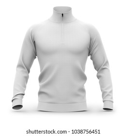 Men's white zip neck pullover with raglan sleeves, rubber cuffs and collar. Front view. 3d rendering. Clipping paths included: whole object, collar, sleeve, cuffs, zipper.