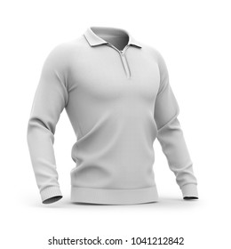 Men's white zip neck pullover with raglan sleeves, rubber cuffs and collar. 3d rendering. Clipping paths included: whole object, collar, sleeve, zipper. Half-front view.