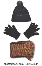 Men's winter clothing: gloves, scarves, hats. Top view