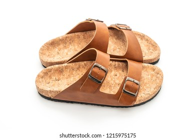 men's and women's (unisex) fashion leather sandals isolated on white background