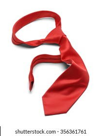 Mens Worn Messy Red Necktie Isolated on a White Background.