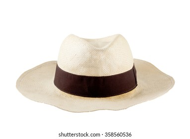 men's woven straw hat isolated white background