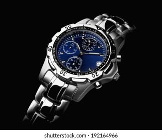 Mens wrist watch on black background