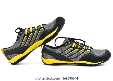 Men's Yellow and Black Athletic Running Shoes on White Background