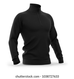 Men's zip neck pullover with raglan sleeves, rubber cuffs and collar. Half-front view. 3d rendering. Clipping paths included: whole object, collar, sleeve, cuffs, zipper.