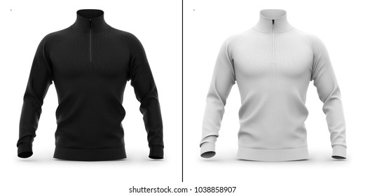 Men's zip neck pullover with raglan sleeves. Front view. 3d rendering. Clipping paths included: whole object, collar, sleeve, cuffs, zipper. Shadows and highlights mock-up template.