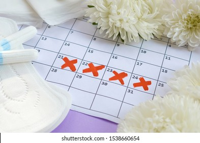 Menstrual pads and tampons on menstruation period calendar with white flowers on lilac background