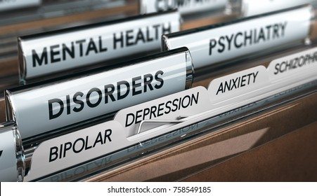 Mental health concept. File with a list of psychiatric disorders. 3D illustration