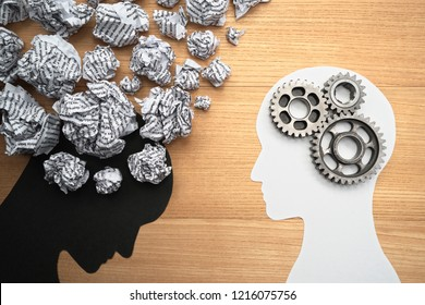 Mental health image. Silhouette of depressed person brain and healthy person brain. 