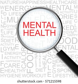 Mental Health. Magnifying glass over seamless background with different association terms. Health Concept.