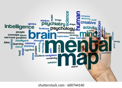 Mental map word cloud concept on grey background