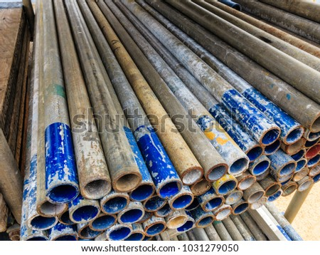 mental scaffolding pipe stack together on stock photo edit now