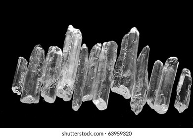 Menthol Crystals isolated on black background