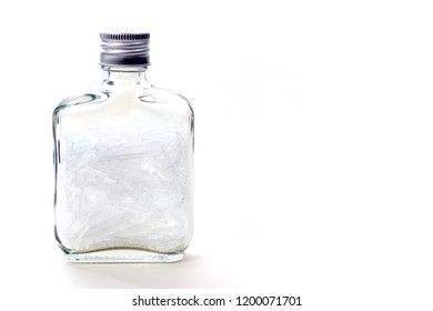Menthol is an organic compound, White crystals Cool smell Packed in a clear glass bottle, Ingredients for toothpaste.