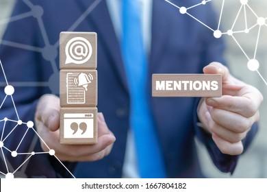 Mentions Web Social Business Communication Concept. Mention.