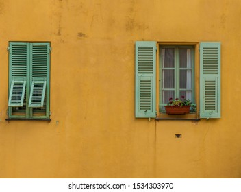 Menton France. 17 June 2019. A view of colourful local architecture in the old town in Menton in France