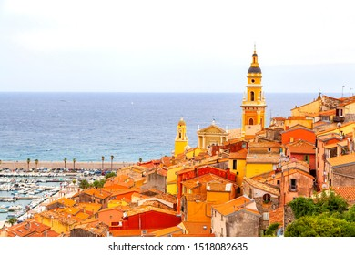 MENTON, FRANCE :  Aerial view of the harbor and of the old town architecture