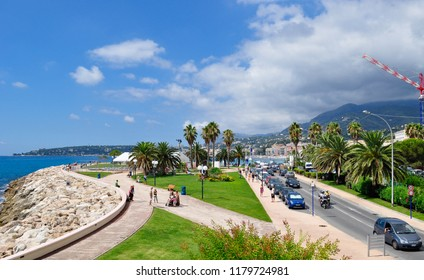Menton / France — August 8, 2010: view of the seaside garden and Promenade du Soleil in Menton from the bastion. Menton is one of the towns on the Cote d'Azur, or French Riviera, in southern France