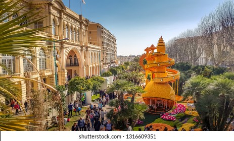 MENTON, FRANCE - FEBRUARY 17, 2019: Art made of lemons and oranges in the famous Lemon Festival (Fete du Citron) in Menton, France. The famous fruit garden receives 230,000 visitors a year.