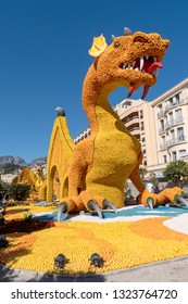 Menton, France – February 25, 2019: Giant sculpture made by lemons and oranges at Annual Menton Lemon Festival in French Riviera