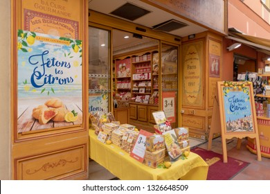 Menton, France – February 25, 2019: An old confectionery shop in the  Menton old town