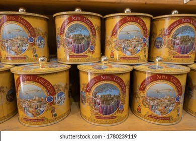 Menton, France - July 2, 2020: La Cure Gourmande looks like an old-fashioned confectionery store selling a variety of sweets, biscuits, chocolates, nougats, caramels.