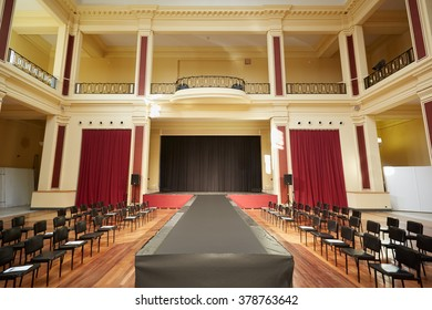 MENTON, FRANCE - JULY 25, 2015: Palais de l'Europe building, theater interior before a fashion show on July 25, 2015 in Menton, France. The building is a theatre and city conference center